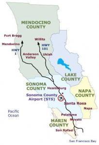 Map of Sonoma county, Mendocino county, Lake county, Napa county, and Marin county.