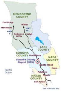 Graphic map of Mendocino, Sonoma, Lake, Napa and Marin counties